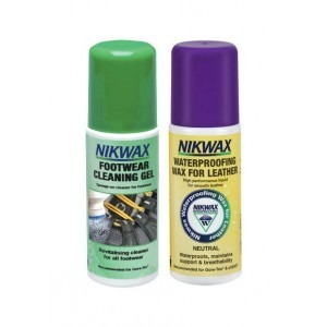 Zestaw NIKWAX Footwear Cleaning Gel + Waterpoofing Wax for Leather 2x125ml
